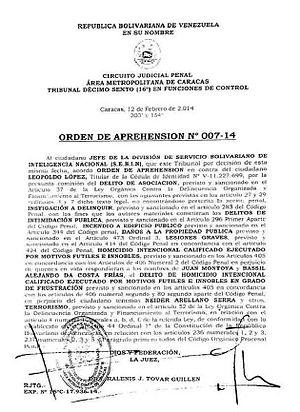 Leopoldo López - Detention order against Leopoldo López