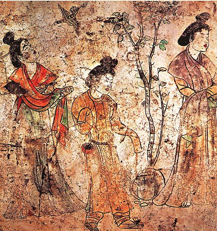 Palace ladies in a garden from a mural of Prince Li Xian's tomb in the Qianling Mausoleum, where Wu Zetian was also buried in 706 Li Xian's tomb, palace ladies.jpg