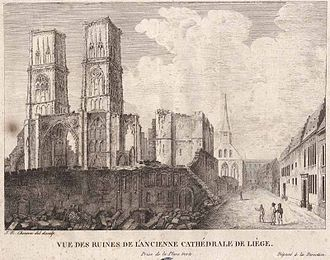 Liège Revolution - Destruction of the Cathedral of Saint-Lambert by revolutionaries.