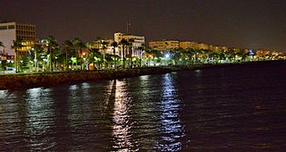 Limassol view by night seaside new park Limassol Cyprus 2014.jpg