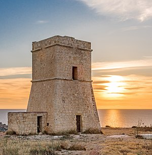 Lascaris towers - Image: Lippija Tower Overlooking Gnejna Bay
