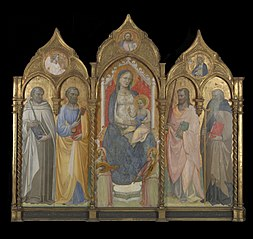 Virgin and Child Enthroned withSaint