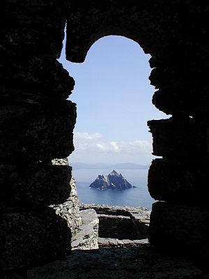 Skellig Islands - Little Skellig, as seen through the window of a hermitage on Skellig Michael