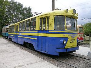 Trams in Nizhny Novgorod - This Soviet era (1957 design) LM-57 tramcar can still be hired for Nizhny Novgorod city sightseeing