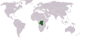 Geography of the Democratic Republic of the Congo - Location of the DRC on a world map
