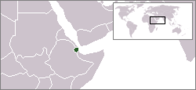 A map showing the location of Djibouti