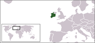 A map showing the location of Ireland