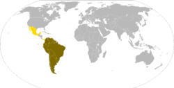 Location of the Union of South American Nations