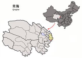 Location of Xunhua within Qinghai (China).png