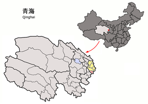 Xunhua Salar Autonomous County - Xunhua County (pink) within Haidong Prefecture (yellow) within Qinghai