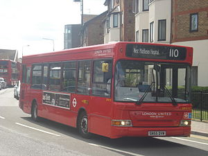 London United DPS727 on Route 110, Hounslow.jpg
