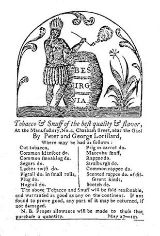 Pierre Lorillard II - Image: Lorillard advertisement, 1789
