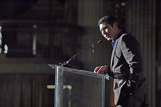 Lou Diamond Phillips - Phillips speaking at the Filipino American Library Spirit Awards and Dinner Gala in Los Angeles in October 2006.