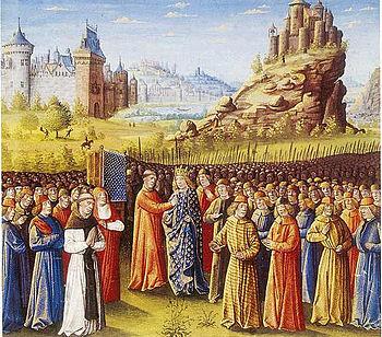 Louis VII followed the crusade sermon of Bernard von Clairvaux in Vezelay.  Illumination by Jean Colombe, 15th century