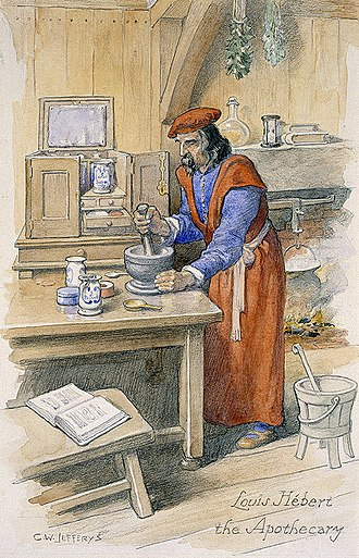 Louis Hébert - Louis Hébert, apothecary at Port-Royal, Acadia, painted by C. W. Jefferys, collection of the National Historical site of Port-Royal.