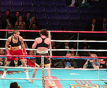 Lucia Rijker warms up in the ring.