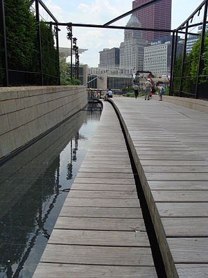 Lurie Garden - The boardwalk and canal bisecting the garden facing south