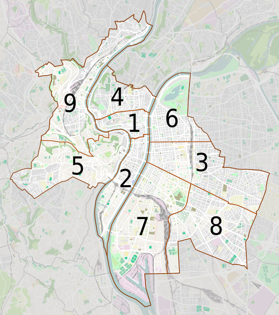 Image result for map of lyon arrondissements