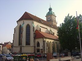 The exterior of Maribor Cathedral features a 53-metres high bell tower.