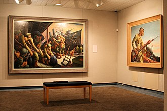 State Historical Society of Missouri - A scene from the Society's art galley, featuring works by Thomas Hart Benton, among other artists.