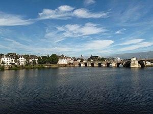 Limburg (Netherlands) - City view of Limburg's capital, Maastricht with its ancient Roman Bridge on the Meuse river.