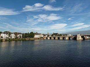 """View of Maastricht city centre with its partly medieval bridge on the <a href=""""http://search.lycos.com/web/?_z=0&q=%22Meuse%20River%22"""">Meuse river</a>"""