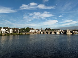Limburg (Netherlands) - City view of Limburg's capital, Maastricht with its ancient Roman Bridge on the Meuse river.