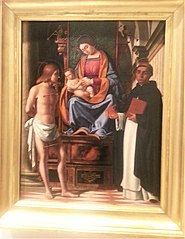 Madonna and Child enthroned between Saints Sebastian and Vincenzo Ferrer