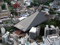 Main hall of Reiyukai as seen from Tokyo Tower.jpg