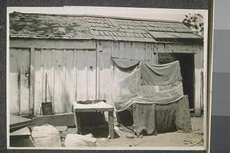 """Asian immigration to the United States - Makeshift shelter for Indian farm laborers (referred to as a """"Hindu bed"""") in California."""
