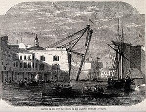 Malta Dockyard - HM Dockyard, Malta, 1865: new iron sheers in use