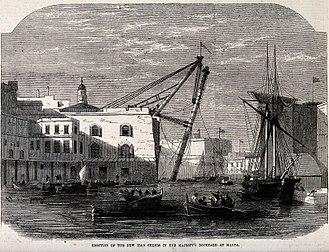 Malta Dockyard - HM Dockyard, Malta, 1865: new iron sheers in use