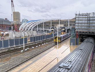 Northern Hub - The partially complete new roof at Manchester Victoria in July 2014