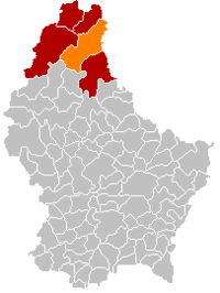 Map of Luxembourg with Clervaux highlighted in orange, the district in dark grey, and the canton in dark red