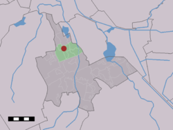 The village (dark red) and the statistical district (light green) of Eelde in the municipality of Tynaarlo.