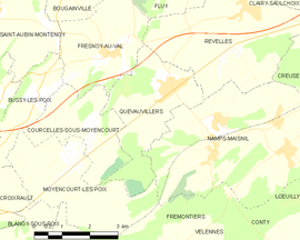 Mapa obce Quevauvillers