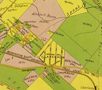 Clarendon, Arlington, Virginia - Image: Map from 1900 by Howell & Taylor, showing Clarendon in Arlington, VA