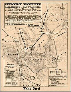 California Pacific Railroad Defunct railroad from Vallejo to Sacramento and branches in Northern California, 1865-1876
