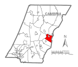 Map of Cambria County, Pennsylvania highlighting Cresson Township