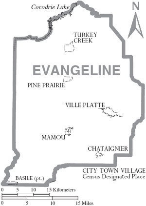 Evangeline Parish, Louisiana - Map of Evangeline Parish, with municipal labels