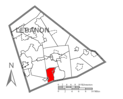 Map of Lebanon County, Pennsylvania highlighting West Cornwall Township