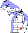 State map highlighting Ingham County