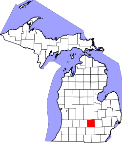 Map of Michigan highlighting Ingham County.svg