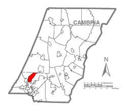 Map of Cambria County, Pennsylvania highlighting Middle Taylor Township