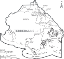 Map of Terrebonne Parish Louisiana With Municipal and District Labels.PNG