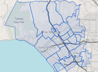 Westside (Los Angeles County) - Image: Map of Westside area, Los Angeles County