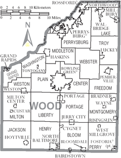 Map of Wood County Ohio With Municipal and Township Labels.PNG