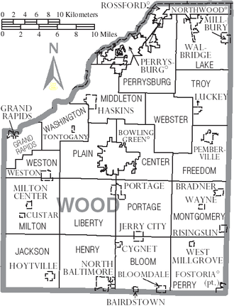 Wood County, Ohio - Map of Wood County, Ohio with municipal and township labels