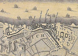 Royal Arsenal - Map of 1746 showing 'The Warren' (right) with its three quadrangles: the original Laboratory (1696), the 'Great Pile' (1717-20) and New Carriage Yard (1728-9)