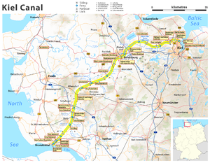 Kiel Canal - Current map of Kiel Canal in Schleswig-Holstein